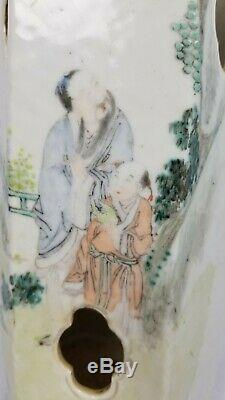 Antique 19ème Siècle Hexagonal Porcelaine Chapeau Chinois Qianjiang Support D'écriture
