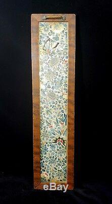 Antique 19ème Siècle Soie Chinoise Broderie Florale Papillon Plateau Cadre