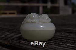 Antique 20e Siècle République Chinoise Période Sculpté Blanc Jade Box Boy & Girl