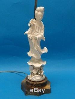 Antique Blanc De Chine Déesse Chinoise Quan Yin Figurine Lampe De Table 30