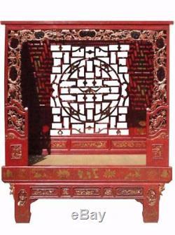 Antique Bois Chinois Sculpté À La Main Lit Rouge / Daybed / Lit À Baldaquin Mh312