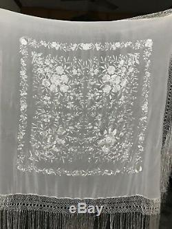 Antique Broderie Main Chinoise Piano Shawl 43 X 44 Fringe 24