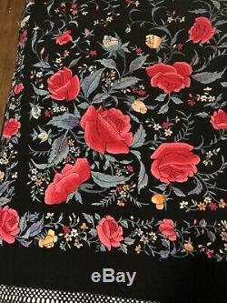 Antique Canton Chinois En Soie Brodé 2 Châle Sided Roses Piano Coloré 84