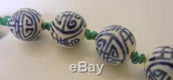 Antique Chinese Caractère Porcelaine Bleue Bleue Perles Noués À La Main Collier 19 C
