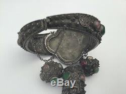 Antique Chinese Export Argent Jade Et Tourmaline Rose Filigrane Bracelet, Superbe