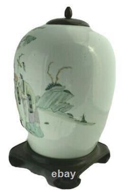 Antique Chinese Famille Rose Porcelaine Jar Vase Personnages Impériaux Paysage Gilt