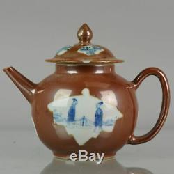Antique Chinese Teapot Batave Café Au Lait Premier Semestre Figures 18c Qing