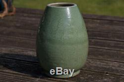 Antique Chinois 1368 -1644 Dynastie Ming Longquan Celadon Vase Baie Vitrée Réduite