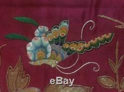 Antique Chinois 80 X 76 CM Embroidered Suspendu Soie Panel 19ème Siècle