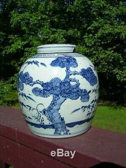 Antique Chinois Bleu Et Blanc En Porcelaine Pot Gingembre
