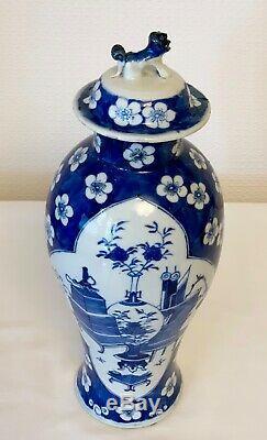 Antique Chinois Bleu Et Blanc Pot Prunus 4 Caractères Mark Kangxi 13 Ins Grand