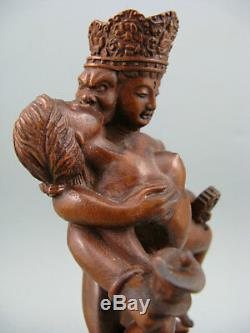 Antique Chinois Boxwood Sculpture À La Main Statue Du Grand Bouddha Figure Décoration