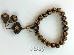 Antique Chinois Chine Qing Mala Rosaire Prière Bois D'agar Perles Qinan 1900