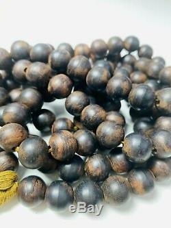 Antique Chinois Chine Qing Perles Mala Qinan Collier De Bois D'agar Prière Bouddhiste