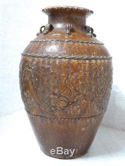 Antique Chinois Dynastie Ming Marron Glacé Stockage Jar Oiseaux Fleurs Papillons