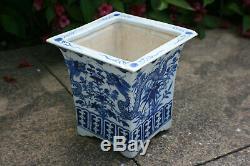 Antique Chinois En Porcelaine Peinte À La Main Blue & White Dragon Flower Pot Carré