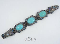 Antique Chinois Export Chunky Turquoise Email Filigrane Panneau Bracelet 6,75