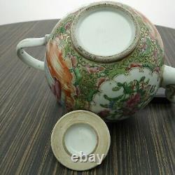 Antique Chinois Famille Médaillon Rose Teapot