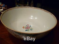 Antique Chinois Famille Rose Punch Bowl, 18 C, Qianlong