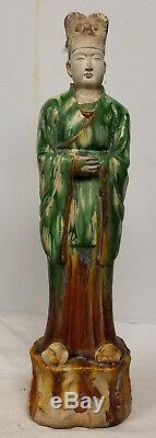 Antique Chinois Han Tang Massive Style De Poterie Figure Attendant Homme Sancai