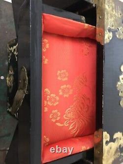 Antique Chinois Laqué Boîte À Bijoux Armoire Nacre Incrustation