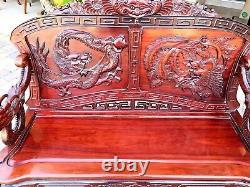 Antique Chinois Main Sculptée Dragon De Bois De Rose Et Sofa De Banc D'oiseau Beau