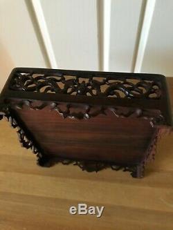 Antique Chinois Opium Table Sculpté Rosewood Début Du 20e Siècle