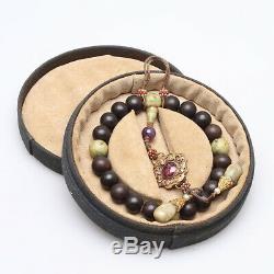 Antique Chinois Perle Bracelet Qing Bois D'agar Jade Dynasty Spinelle Rouge