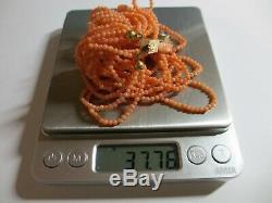 Antique Chinois Profondément Sculpté Saumon Coral Collier À 6 Bandes De Pinces Withrose Clasp