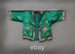 Antique Chinois Qing Dynastie Soie Brodée Veste Textile Robe Style Chinois