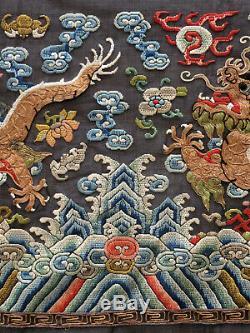 Antique Chinois Robe Frontière Broderie De Soie De Dragons