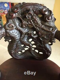 Antique Chinois Sculpté Dragon Nuage Chaise En Bois D'acajou
