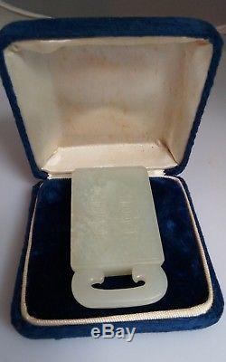 Antique Chinois Sculpté Pendentif Plaque De Jade Pale Double Amulette De Bonheur