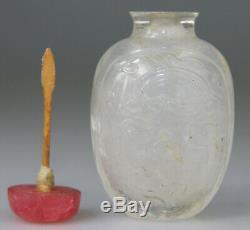 Antique Chinois Tabatière En Cristal De Roche Sculpté Qing 18 19