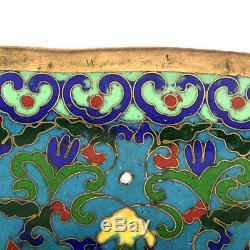 Antique Chinois Tardif Qing. Bol À Motif Floral Émail Cloisonné 1880-1900 10.5 W