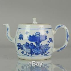 Antique Chinois Teapot Kangxi Bleu Et Blanc Bajixiang Chiffres Qing Zh