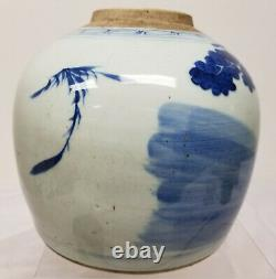 Antique Chinois Underglaze Bleu Et Blanc Ginger Jar Boys Foo Dog