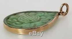 Antique Chinois Vert Blanc Collier Sculpté À La Main D'or Massif De Jade Pendentif