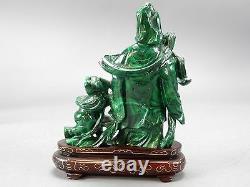 Antique Complexe Sculpté Chinois Malachite Stone Kwan Yin Statue Avec Base 4.5