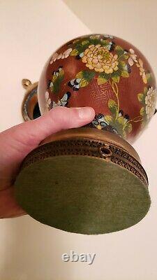 Antique Début De La Période République Chinoise Tall Plombé Cloisonne Pot De Gingembre Foré
