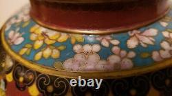 Antique Early Republic Période Chinoise Tall Plombé Cloisonne Pot De Gingembre Foré