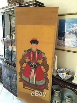 Antique Empereur Chinois Ancestral Et De L'impératrice Peintures Portraits 6' Haute