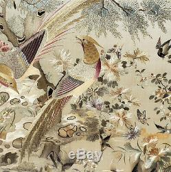 Antique Encadrée Chinois En Soie Brodée Panneau Mural Suspendu Broderie Chine Art