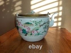 Antique Famille Chinoise Rose Teapot Qing Republic