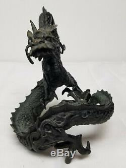 Antique Fine Sculpture En Bronze Chinois Japonais Dragon Figure Statue Meiji