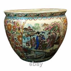Antique Grand Chinois Oriental Asian Pottery Porcelaine Fish Bowl Planter