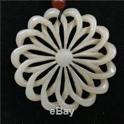 Antique Hetian Vieux Jade Naturel Chinois Évider Handcarved Fleur Pendentif