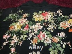 Antique Japonais Vintage Brodé Kimono En Soie Chinoise Robe Broderie # 2