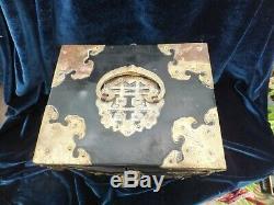 Antique Laque Chinoise Boîte À Bijoux Cabinet Perle Marqueté Soie Tiroirs Doublé