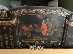 Antique Lit Chinois, Opium Lit Avec Feuille D'or Et De Travail Originalart Complexe